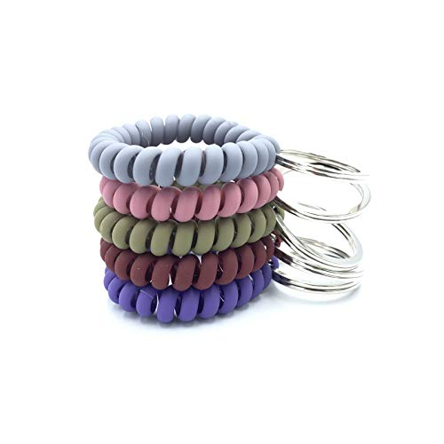 FRUTA 5 Pieces Plastic Coil Stretch Wristband Keychain Elastic Stretchable Spiral Coil Wrist Keychain Key Holder Key Hook Bracelet Key Ring Chain for Gym Pool ID Badge and Outdoor Sports Activities