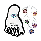 Acrylic Flower Toe Rings - Stretchy and Elastic for Easy Fit - Set of 12 - Fun Jewelry for Women and Girls