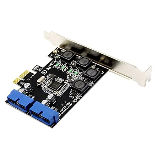Kaijia PCI Express a Dual 19/20 Pin USB 3.0 Tarjeta de alta velocidad Adaptador de transferencia de datos para Windows 2000/XP/Vista/7