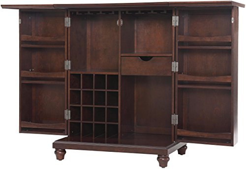 Big Sale Crosley Furniture Cambridge Expandable Bar Cabinet in Vintage Mahogany Finish