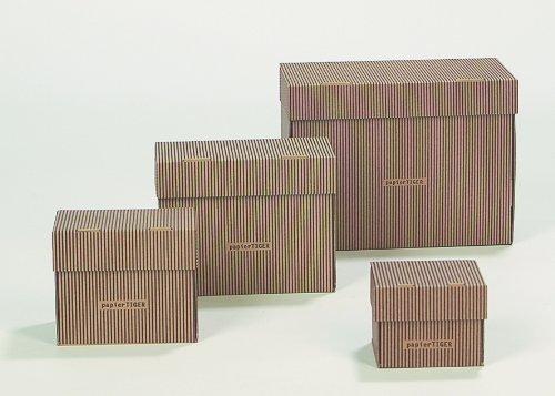 6 PapierTiger Karteikästen A6 Karton Streifendesign schwarzbraun faltbar passend für bis zu 300 Karteikarten