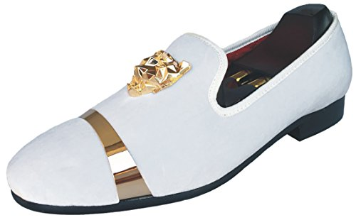 Justyourstyle Men's Velvet Loafers Slippers with Gold Buckle Wedding Dress Shoes Slip-on Smoking Flats (11, White)