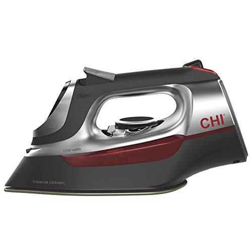 CHI Steam Iron for Clothes with Titanium Infused Ceramic Soleplate, 1700 Watts, Electronic Temperature Control, 8