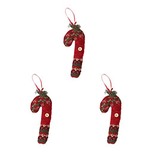 NUOBESTY 3 Unids Árbol de Navidad Adornos Colgantes Bastón de Caramelo Colgantes en Forma de Árbol de Navidad Ventana Caída de La Pared Decoración Festival Fiesta Suministros para El Hogar