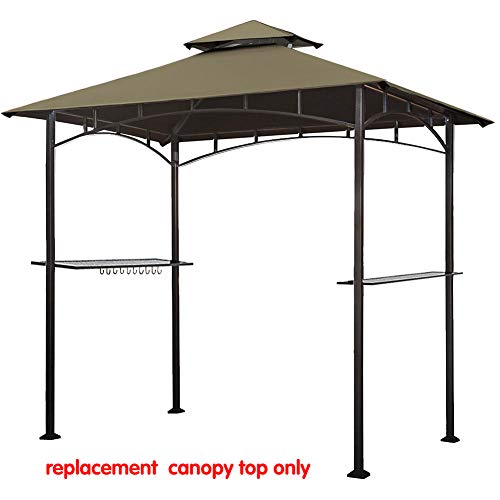 Eurmax 5FT x 8FT Double Tiered Replacement Canopy Grill BBQ Gazebo Roof Top Gazebo Replacement Canopy Roof(Cocoa)