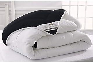 Couette Mi-Saison Bicolore, Noir/Blanc, 340gr/m², Légère, 220x240cm, 2 Personnes, 100% Microfibre