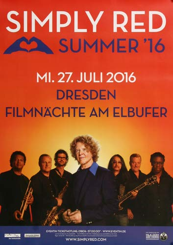 Simply Red - Summer, Dresden 2016 » Konzertplakat/Premium Poster | Live Konzert Veranstaltung | DIN A1 «