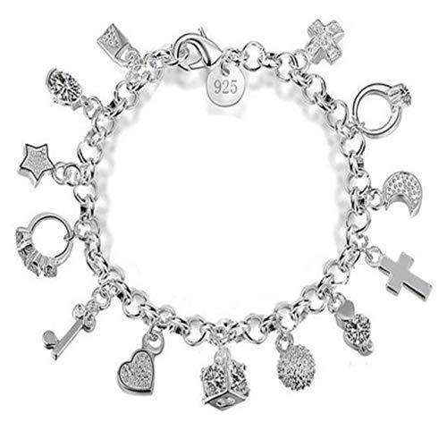 N/A Aniversario del día de la Madre Moda Cristal Corazón Luna Estrella Cruz Cerradura Pulsera Colgante Brazalete Único Color Plateado Circón Pulsera de la Amistad para Mujeres