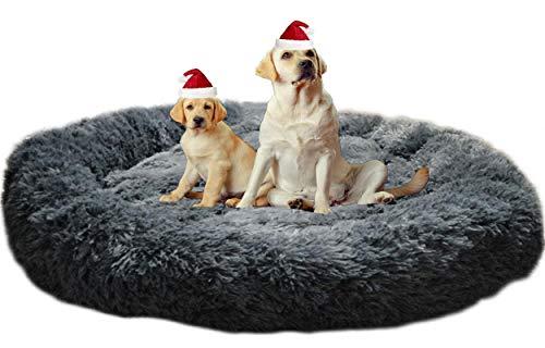 Waschbar Hundekissen Flauschiges Hundebett Orthopädisch xl Rund Donut Hundesofa xxl für Mittlere Grosse große Hunde Kuscheliges Antistress Oval Hundehöhle Rund Kuschelig Haustierbett Dunkelgrau