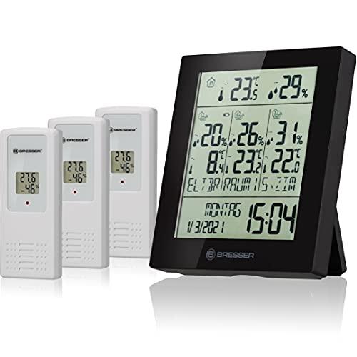 Bresser Wetterstation Funk mit Außensensor Quadro Neo mit Wettervorhersage, Luftdruckmessung, Wecker und 3 Stück Außensensoren für Temperatur und Luftfeuchtigkeit, schwarz