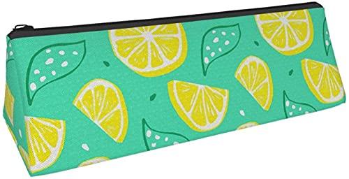 Bolsa de lápiz triangular con diseño de hojas de limón, bolsa de cosméticos, bolsa con cremallera para almacenamiento diario de objetos pequeños en la escuela, oficina, viajes o maquillaje.