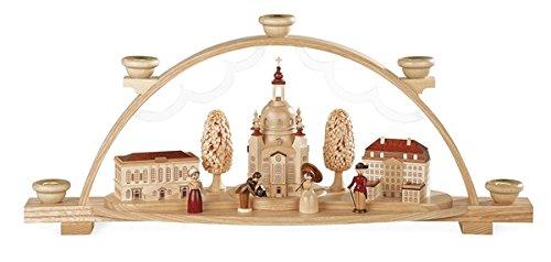 Lichtboog boog vrouwenkerk Dresden met Coselpalais en Johanneum natuur (LxBxH): 47 x 11 x 20 cm NIEUW lichtboog vensterboog spitse boog Ertsgebergte Zeep kerst licht hout decoratie verlichting vensterversiering boog vensterverlichting
