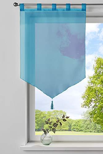 Gardinenbox Scheibengardine »Lyon« Quaste Modern Zeitlos Voile Küchenfenster Sichtschutz HxB 90x60 cm Türkis Scheibenhänger Spitzpanneaux, 10000333