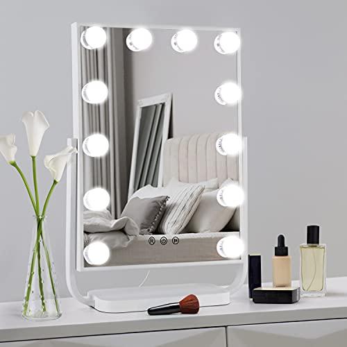 WOOHSE Hollywood Schminkspiegel mit Beleuchtung, Kosmetikspiegel Dimmbar LED-Lampen 360 Grad Drehung, 3 Farbmodi, Memory-Funktion, Makeup Spiegel für Schminken Rasieren, Weiß, 33*48*11CM