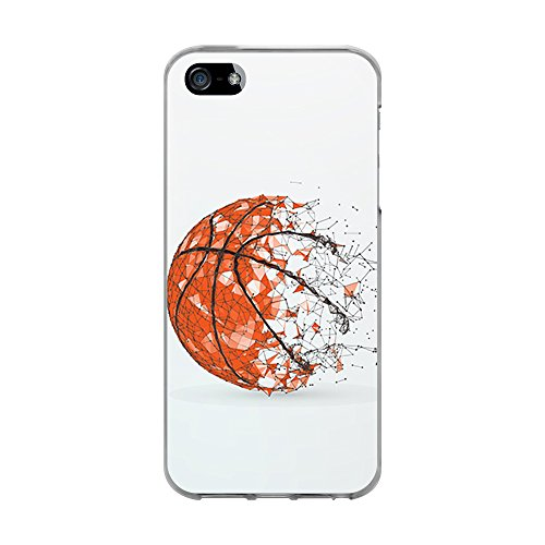 BJJ Funda Transparente para [ iPhone 5 5S SE ], Carcasa de Silicona Flexible TPU, diseño: Pelota de Baloncesto, Abstracto