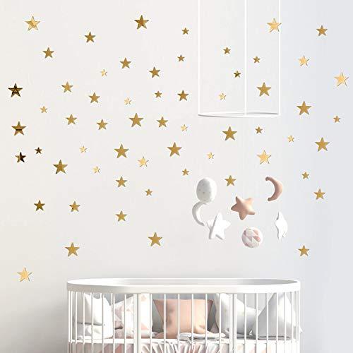 60 Pcs Pegatinas de Pared Estrella Espejo de Acrílico Adhesivos 3 Tamaños DIY Decoración Hogar para Sala de Estar Habitación Armario Pared de Dormitorio (Dorado) ✅