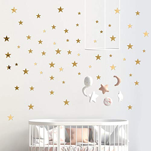 60 Pezzi Adesivo Murale Specchio 3D Acrilico Stelle Adesivi da Parete Decorazione per Casa Soggiorno Camera da Letto Wall Stickers 3 Taglie (oro)