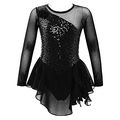 ranrann Vestido de Ballet Nia Maillot de Danza Ballet para Nia Tut Vestido de Patinaje Artstico Disfraz de Bailarina Leotardo de Gimnasia Rtmica Body de Yoga Baile Negro C 4 aos