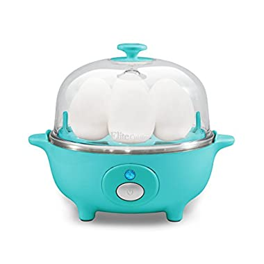 Elite Cuisine EGC-007T Maxi-Matic Egg Poacher & Egg Cooker with 7 Egg Capacity and Buzzer, Teal