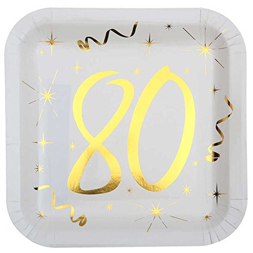 Chal - 10 Assiettes anniversaire 80 ans blanc et or