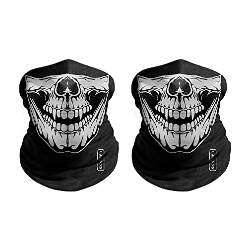 GAMPRO Outdoor Half Face Masks Seamless Tube Skull Sports Face Mask 2 Pcs Half Dust-Proof Windproof Motorcycle Bicycle Bike Face Mask Multifunctional for Hiking Camping Climbing Fishing Hunting