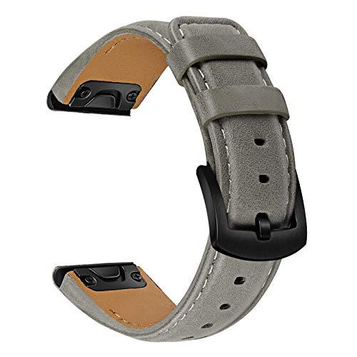 TRUMiRR Sostituzione per Garmin Fenix 6X/6X Pro/5X/5X Plus Cinturino,26mm Cinturino per Orologio Easy Fit a sgancio rapido Cinturino in Vera Pelle di Vacchetta per Garmin Fenix 3/3 HR/Descent Mk1