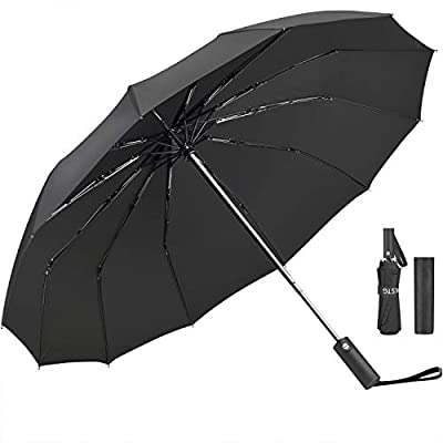 Umbrella,JUKSTG 12 Ribs Auto Open/Close Windproof Umbrella, Waterproof Travel Umbrella,Portable Umbrellas With Ergonomic Handle,Black