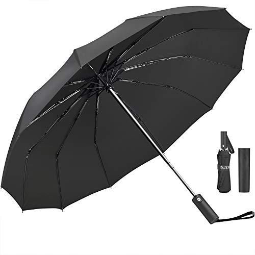 Regenschirm, JUKSTG 12 Rippen Winddichter Regenschirm zum automatischen Öffnen/Schließen, wasserdichter Reiseschirm, tragbare Regenschirme mit ergonomischem Griff, schwarz