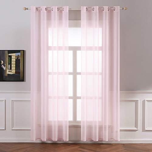 MIULEE 2er Set Sheer Voile Vorhang mit Ösen Transparente Gardine aus Voile Polyester Ösenschal Transparent Wohnzimmer Luftig Dekoschal für Schlafzimmer 140 X 225 cm (B x H), Grommet Top Baby Rosa