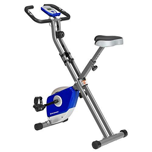 SONGMICS Bicicleta estática plegable de interior para entrenamiento de fitness, soporte para teléfono, peso máximo de 200 libras, azul y plata USEB013Q01
