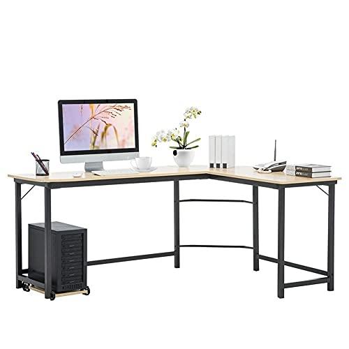 Mesa de escritorio de esquina moderna en forma de L para computadora en casa, oficina, con parte superior de madera y marco de metal