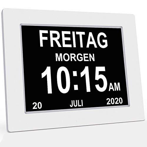 YAXING/DC801/Seniorenuhr 8 Zoll. Digitale Kalender und Seniorenuhr Foto-Funktion - Digitale Uhr, Wecker, Kalender für Senioren & Demenzkranke (z.B. Alzheimer) mit Erinnerungsfunktion (Weiß)