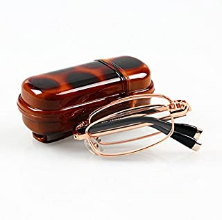 TT WARE Folding Reading Glasses Men Women Metal Frame Portable Presbyopic Glasses With Glasses Case-2.0