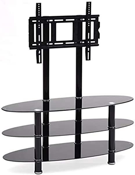 Pemberly Row 49 Wide Glass TV Stand In Black