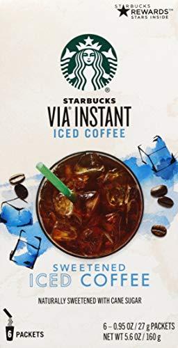 Starbucks VIA Instant Coffee Medium Roast Packets — Sweetened Iced Coffee — 1 box (6 packets)