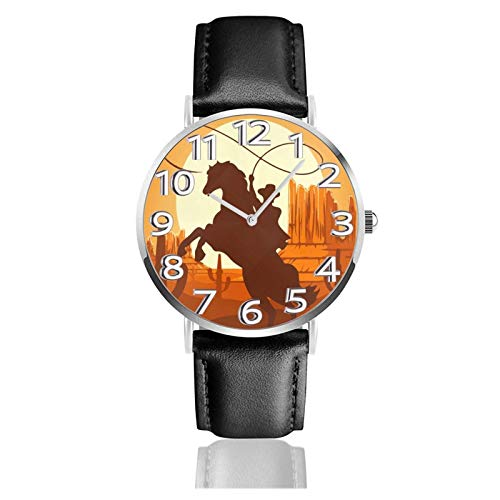 Reloj de Pulsera Western Cowboy Desert Cactus Sunset Durable PU Correa de Cuero Relojes de Negocios de Cuarzo Reloj de Pulsera Informal Unisex