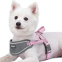 Blueberry Pet Soft&快適な3M反射ストリップパッド入り犬用ハーネスベスト、胸囲76cm-98cm、ピンク、犬用ナイロン調整可能トレーニングハーネス
