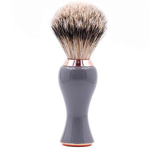 Nouveau Parker Safety Razor -Gris et Rose or Poignée Silvertip Blaireau Soist Brosse de rasage pour hommes et femmes avec support