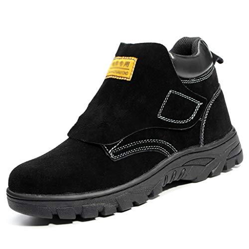Zapatos de trabajo Botas de seguridad de soldadura de soldador para hombres, botas protectoras industriales de cuero de gamuza resistentes a altas temperaturas, protección antideslizante de goma antid