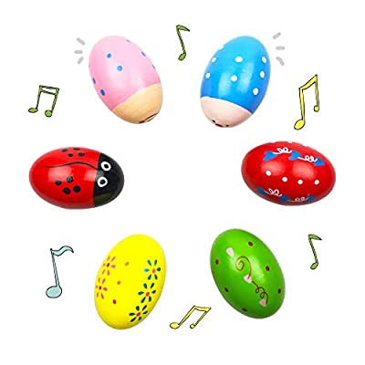 QINGQIU 6 Pack Wooden Shakers Percussion Shake Easter Eggs for Toddlers Kids Boys Girls Easter Basket Stuffers Fillers Gifts