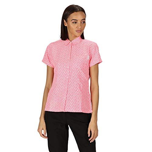 Regatta Mindano V-Camisa De Manga Corta Y Tejido De Secado Rápido Shirts, Mujer, Neon Pink Print, 16