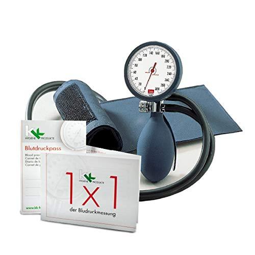 boso clinicus II mit Klettenmanschette Ø 60 mm   inkl. KK Blutdruckpass + 1 x 1 der Blutdruckmessung (Blau)
