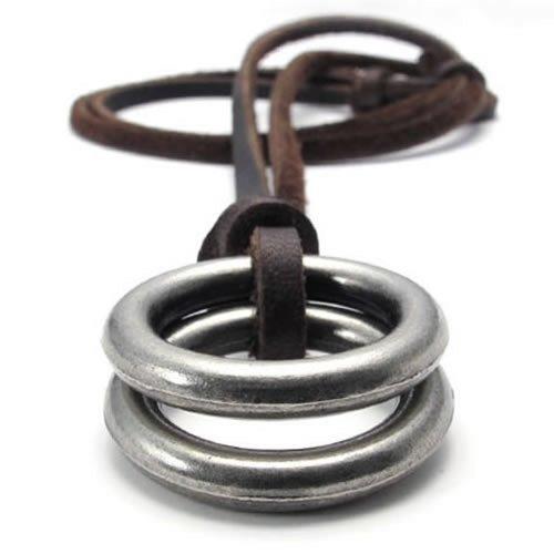 KONOV Joyería Collar con Colgante de hombre mujer, Anillos, Cadena Cuero Ajustable, Aleación, Color marrón plata (con bolsa de regalo)