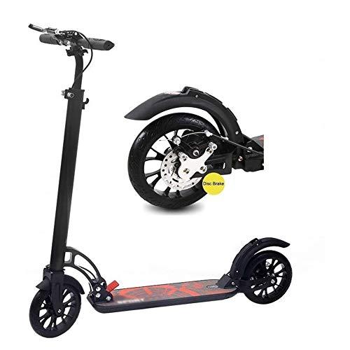 Kickscooter Kinderscooter Außenreit Tragbarer Scooter-Adult Pedal-Roller mit großen Rad und Scheibenhandbremse, Rückfederung und einstellbarer Höhe, faltbar Unterstützung 100Kg (Non-Electric) City Sco