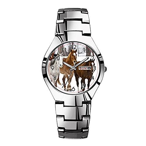 Relojes para hombre de acero plateado banda superior marca impermeable Japón cuarzo reloj de Navidad hombres negocios un invierno escénico de correr caballos en los 2 relojes de pulsera