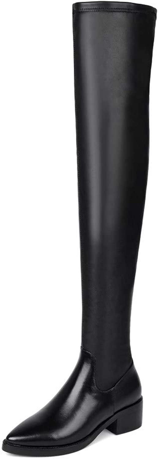 Nine Seven Genuine Leather Women's Pointed Toe Over-The-Knee Boots - Handmade Chunky Low Heel Comfort Walking Boots