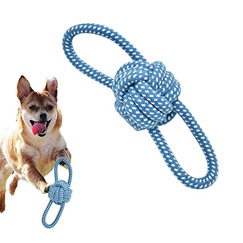 Hundespielzeug, 2pcs KauspielzeugHund, Wurfspielzeug Hundeball Hergestellt aus Baumwollstrick, Wurfball mit Zwei Schlaufen Hunde Spielzeug zur Zahnreinigung
