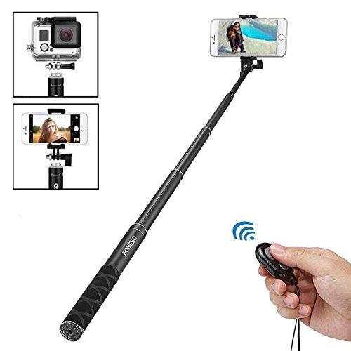 Foneso Selfie Stick mit Bluetooth Fernbedienung für Smartphone, Kamera Schwarz