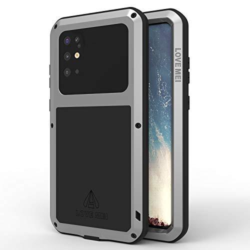 Love Mei - Carcasa para Samsung Galaxy S20 Plus, resistente a los golpes, carcasa de metal compatible con carga inalámbrica de cuerpo completo, resistente S20 Plus con protector de pantalla