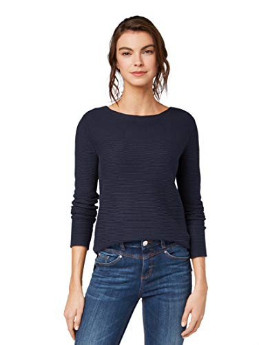 TOM TAILOR Damen Pullover & Strickjacken Pullover mit Strickmuster Sky Captain Blue,M